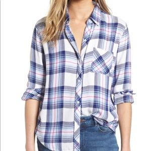 EUC Rails Hunter Flannel Top - Ivory Bluebell Pink